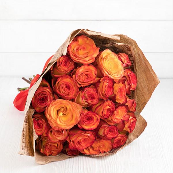 Букет роза оранж 27 шт